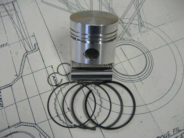 Piston with Clips, Pin and Rings - 69mm - Brescia