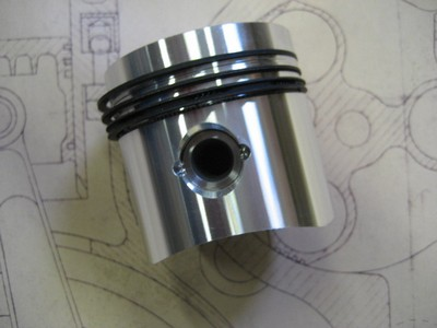 Piston with Clips, Pin and Rings - 72mm - T57